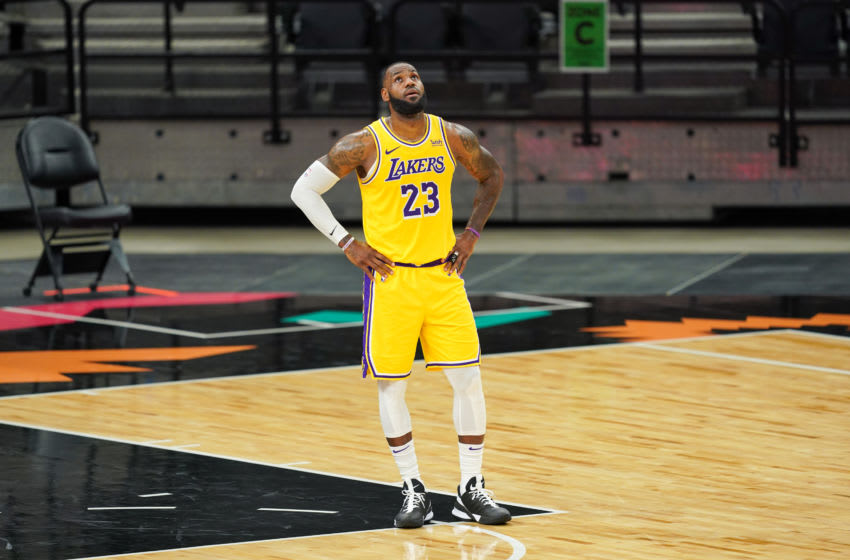 Jan 1, 2021; San Antonio, Texas, USA; Los Angeles Lakers forward LeBron James (23) looks up in the second half against the San Antonio Spurs at the AT&T Center. Mandatory Credit: Daniel Dunn-USA TODAY Sports