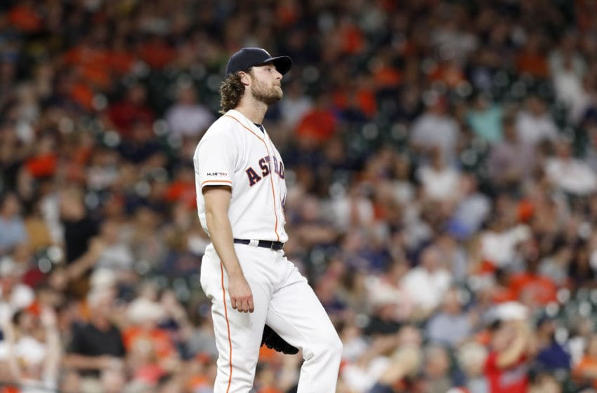 HOUSTON, TX - APRIL 25: Gerrit Cole #45 of the Houston Astros reacts after giving up a home run in the fifth inning against the Cleveland Indians at Minute Maid Park on April 25, 2019 in Houston, Texas. (Photo by Tim Warner/Getty Images)