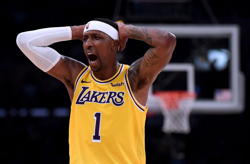 LOS ANGELES, CALIFORNIA - APRIL 09: Kentavious Caldwell-Pope #1 of the Los Angeles Lakers reacts to a Laker foul during a 104-101 loss to the Portland Trail Blazers at Staples Center on April 09, 2019 in Los Angeles, California. (Photo by Harry How/Getty Images) NOTE TO USER: User expressly acknowledges and agrees that, by downloading and or using this photograph, User is consenting to the terms and conditions of the Getty Images License Agreement.