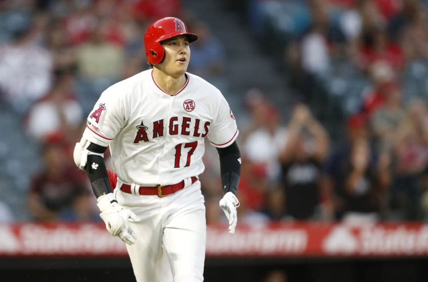 ANAHEIM, CALIFORNIA - SEPTEMBER 11: Shohei Ohtani #17 of the Los Angeles Angels of Anaheim runs to first after hitting a solo homerun during the fifth inning of a game against the Cleveland Indians at Angel Stadium of Anaheim on September 11, 2019 in Anaheim, California. (Photo by Sean M. Haffey/Getty Images)
