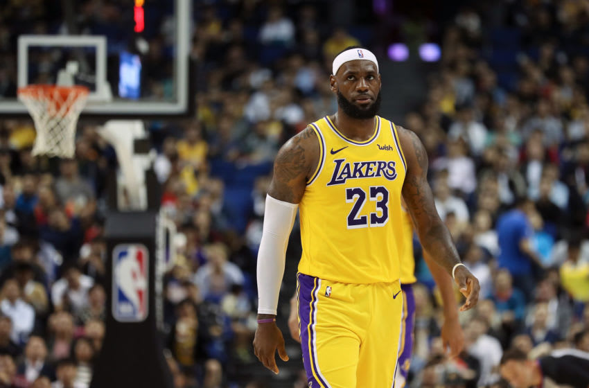 SHANGHAI, CHINA - OCTOBER 10: LeBron James #23 of the Los Angeles Lakers reacts during a preseason game against the Brooklyn Nets as part of 2019 NBA Global Games China at Mercedes-Benz Arena on October 10, 2019 in Shanghai, China. (Photo by Lintao Zhang/Getty Images)