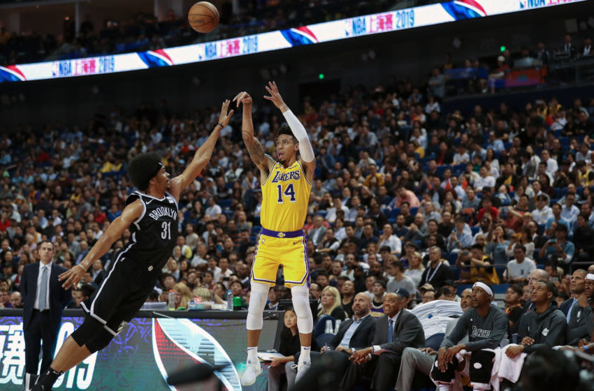 SHANGHAI, CHINA - OCTOBER 10: Danny Green #14 of the Los Angeles Lakers in action against Jarrett Allen #31 of of the Brooklyn Nets during a preseason game as part of 2019 NBA Global Games China at Mercedes-Benz Arena on October 10, 2019 in Shanghai, China. (Photo by Lintao Zhang/Getty Images)