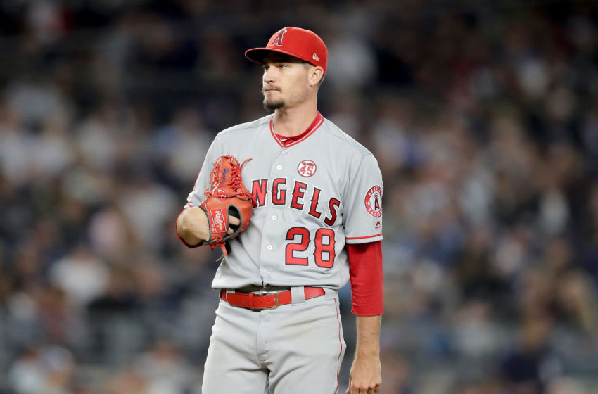 NEW YORK, NEW YORK - SEPTEMBER 19: Andrew Heaney #28 of the Los Angeles Angels reacts as he is about to be pulled during the game against the New York Yankees at Yankee Stadium on September 19, 2019 in Bronx borough of New York City. (Photo by Elsa/Getty Images)