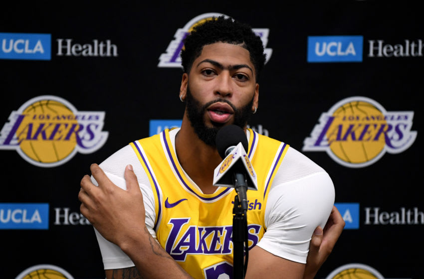 EL SEGUNDO, CALIFORNIA - SEPTEMBER 27: Anthony Davis #3 of the Los Angeles Lakers speaks to the press during Los Angeles Lakers media day at UCLA Health Training Center on September 27, 2019 in El Segundo, California. (Photo by Harry How/Getty Images)