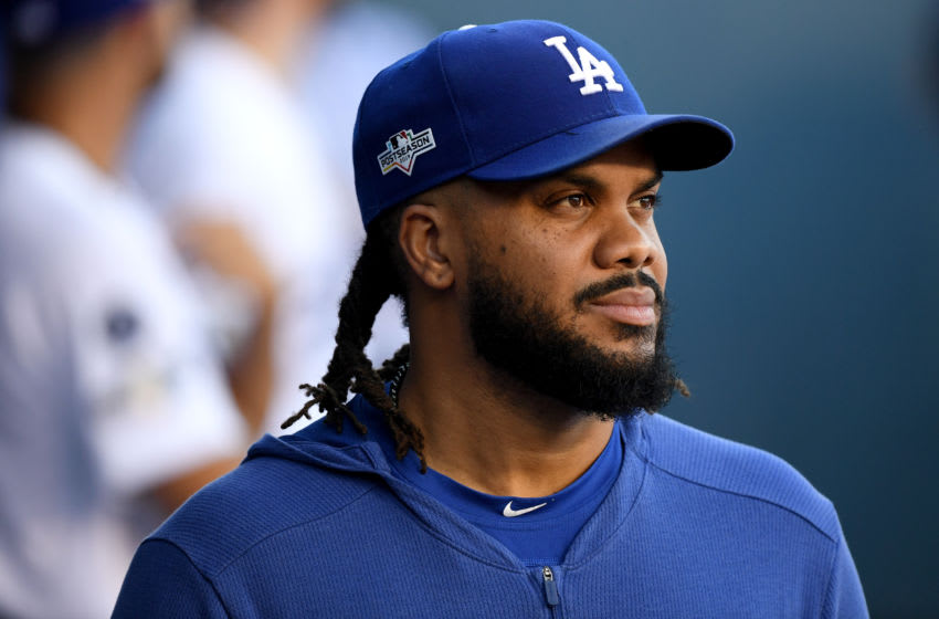 LOS ANGELES, CALIFORNIA - OCTOBER 03: Kenley Jansen #74 of the Los Angeles Dodgers looks on from the dug out before game one of the National League Division Series against the Washington Nationals at Dodger Stadium on October 03, 2019 in Los Angeles, California. (Photo by Harry How/Getty Images)