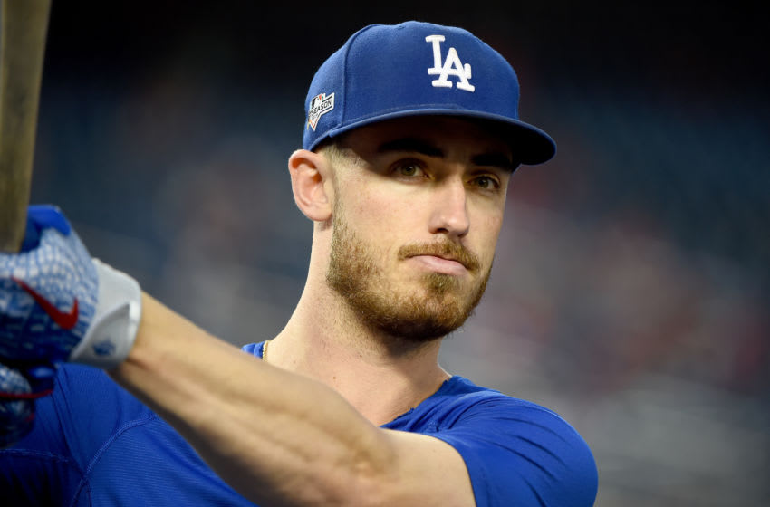 WASHINGTON, DC - OCTOBER 06: Cody Bellinger #35 of the Los Angeles Dodgers looks on during batting practice prior to game three of the National League Division Series against the Washington Nationals at Nationals Park on October 06, 2019 in Washington, DC. (Photo by Will Newton/Getty Images)