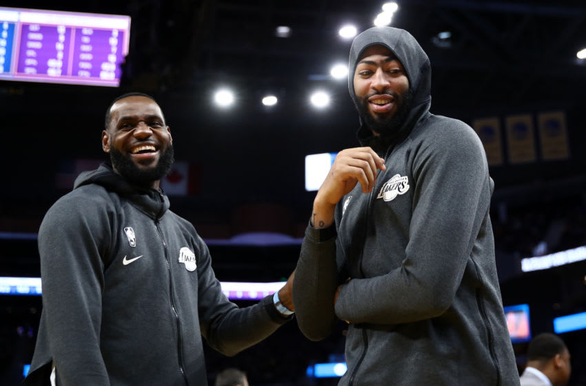 SAN FRANCISCO, CALIFORNIA - OCTOBER 18: LeBron James #23 jokes with Anthony Davis #3 of the Los Angeles Lakers during their game against the Golden State Warriors at Chase Center on October 18, 2019 in San Francisco, California. NOTE TO USER: User expressly acknowledges and agrees that, by downloading and or using this photograph, User is consenting to the terms and conditions of the Getty Images License Agreement. (Photo by Ezra Shaw/Getty Images)