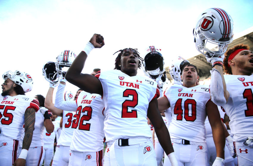 SEATTLE, WASHINGTON - NOVEMBER 02: The Utah Utes celebrate after defeating the Washington Huskies 33-28 during their game at Husky Stadium on November 02, 2019 in Seattle, Washington. (Photo by Abbie Parr/Getty Images)