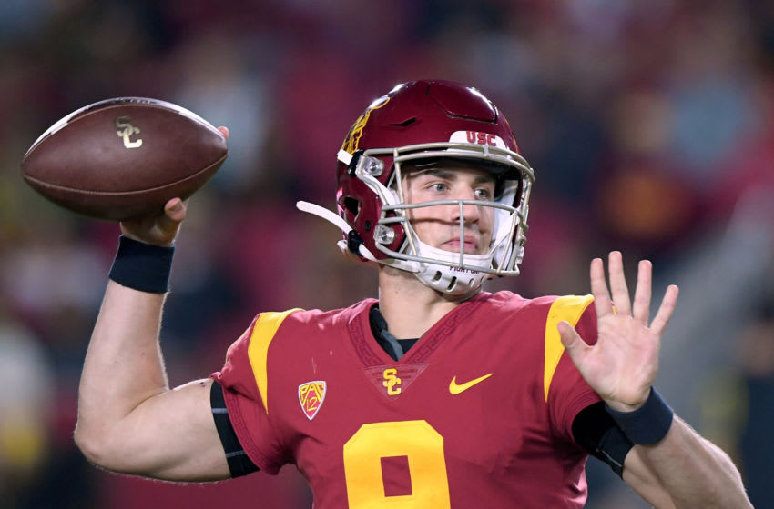 LOS ANGELES, CALIFORNIA - NOVEMBER 02: Kedon Slovis (9) of the USC Trojans passes during the first half against the Oregon Ducks at Los Angeles Memorial Coliseum on November 02, 2019 in Los Angeles, California. (Photo by Harry How/Getty Images)