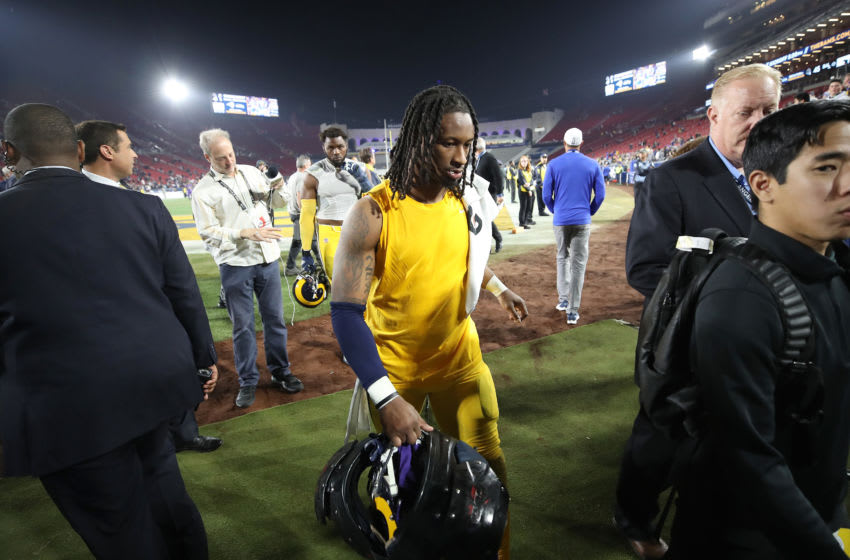 LOS ANGELES, CALIFORNIA - NOVEMBER 25: Todd Gurley #30 of the Los Angeles Rams walks off the field after a game against the Baltimore Ravens at Los Angeles Memorial Coliseum on November 25, 2019 in Los Angeles, California. The Baltimore Ravens defeated the Los Angeles Rams 45-6. (Photo by Sean M. Haffey/Getty Images)
