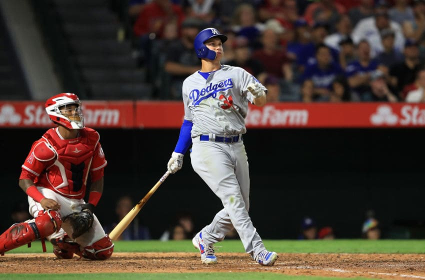 ANAHEIM, CA - JUNE 29: Joc Pederson #31 of the Los Angeles Dodgers hits a three-run homerun during the sixt as Martin Maldonado #12 of the Los Angeles Angels of Anaheim looks on during the sixth inning of a game at Angel Stadium of Anaheim on June 29, 2017 in Anaheim, California. (Photo by Sean M. Haffey/Getty Images)