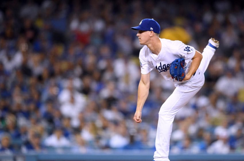 LOS ANGELES, CA - AUGUST 22: Walker Buehler #21 of the Los Angeles Dodgers pitches to the St. Louis Cardinals during the fourth inning at Dodger Stadium on August 22, 2018 in Los Angeles, California. (Photo by Harry How/Getty Images)