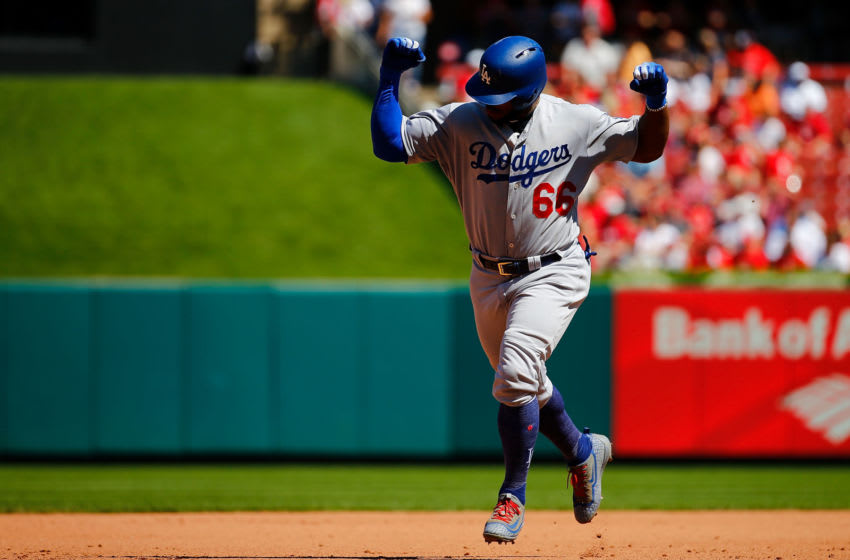 ST. LOUIS, MO - SEPTEMBER 15: Yasiel Puig #66 of the Los Angeles Dodgers celebrates after hitting a three-run home run against the St. Louis Cardinals in the fifth inning at Busch Stadium on September 15, 2018 in St. Louis, Missouri. (Photo by Dilip Vishwanat/Getty Images)