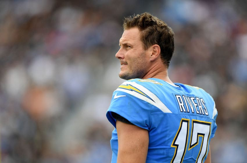 CARSON, CA - OCTOBER 07: Philip Rivers #17 of the Los Angeles Chargers on the sidelines during the game against the Oakland Raiders at StubHub Center on October 7, 2018 in Carson, California. (Photo by Harry How/Getty Images)