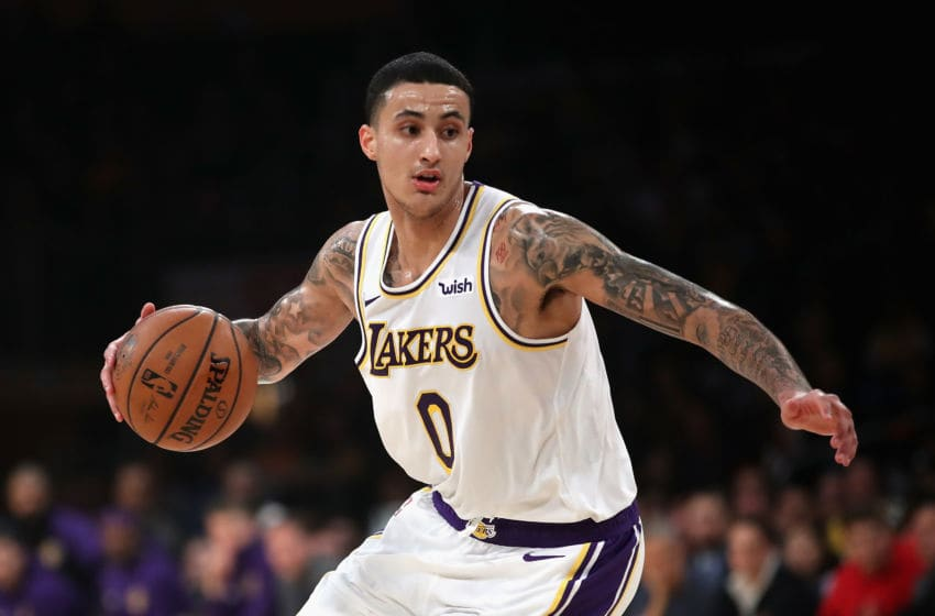 LOS ANGELES, CA - JANUARY 13: Kyle Kuzma #0 of the Los Angeles Lakers dribbles the ball during the first half of a game against the Cleveland Cavaliers at Staples Center on January 13, 2019 in Los Angeles, California. NOTE TO USER: User expressly acknowledges and agrees that, by downloading and or using this photograph, User is consenting to the terms and conditions of the Getty Images License Agreement. (Photo by Sean M. Haffey/Getty Images)