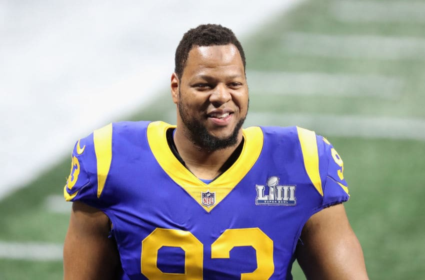 ATLANTA, GA - FEBRUARY 03: Ndamukong Suh #93 of the Los Angeles Rams looks on prior to kickoff at Super Bowl LIII against the New England Patriots at Mercedes-Benz Stadium on February 3, 2019 in Atlanta, Georgia. (Photo by Elsa/Getty Images)