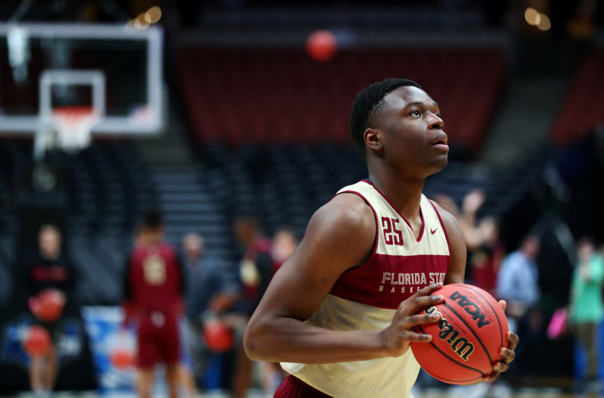ANAHEIM, CALIFORNIA - MARCH 27: Mfiondu Kabengele #25 of the Florida State Seminoles shoots the ball during a practice session ahead of the 2019 NCAA Men's Basketball Tournament West Regional at Honda Center on March 27, 2019 in Anaheim, California. (Photo by Yong Teck Lim/Getty Images)