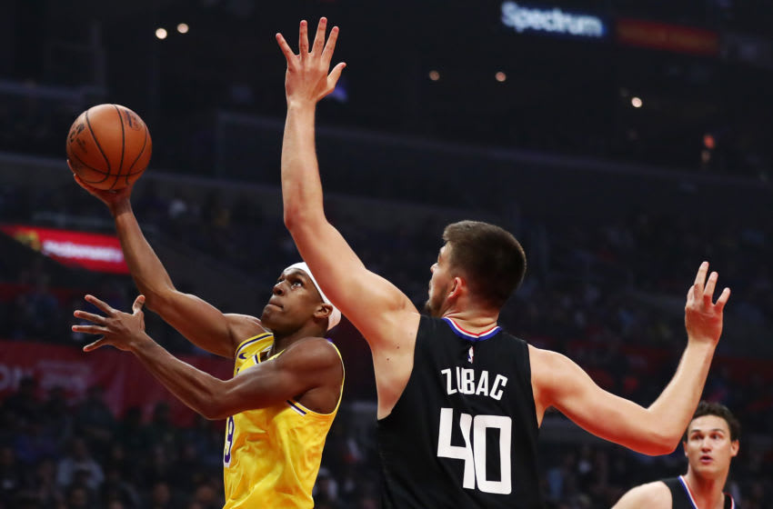 LOS ANGELES, CALIFORNIA - APRIL 05: Rajon Rondo #9 of the Los Angeles Lakers drives to the basket against Ivica Zubac #40 of the Los Angeles Clippers during the first half at Staples Center on April 05, 2019 in Los Angeles, California. NOTE TO USER: User expressly acknowledges and agrees that, by downloading and or using this photograph, User is consenting to the terms and conditions of the Getty Images License Agreement. (Photo by Yong Teck Lim/Getty Images)