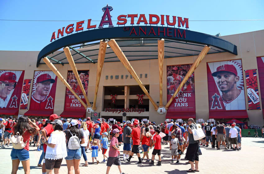ANAHEIM, CA - JUNE 18: General view of the front entrance to Angel Stadium of Anaheim before the game between the Los Angeles Angels and the Kansas City Royals on June 18, 2017 in Anaheim, California. (Photo by Jayne Kamin-Oncea/Getty Images)