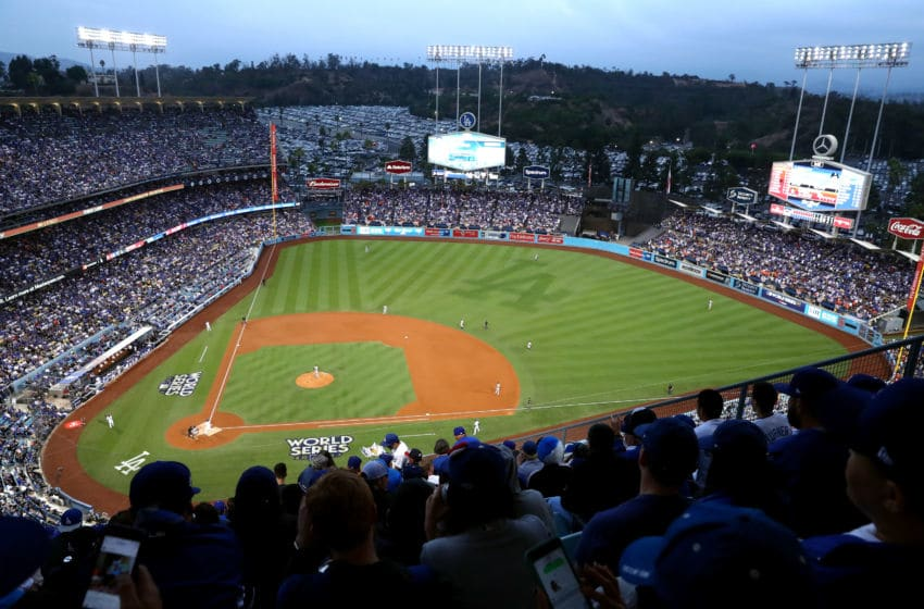 LOS ANGELES, CA - OCTOBER 31: A general view during the first inning of game six of the 2017 World Series between the Houston Astros and the Los Angeles Dodgers at Dodger Stadium on October 31, 2017 in Los Angeles, California. (Photo by Joe Scarnici/Getty Images)