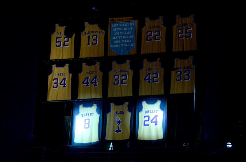 LOS ANGELES, CA - DECEMBER 18: The #8 and #24 jerseys of Kobe Bryant of the Los Angeles Lakers are retired among the other Lakers legends at Staples Center on December 18, 2017 in Los Angeles, California. NOTE TO USER: User expressly acknowledges and agrees that, by downloading and or using this photograph, User is consenting to the terms and conditions of the Getty Images License Agreement. (Photo by Maxx Wolfson/Getty Images)