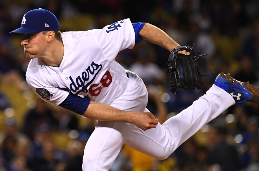LOS ANGELES, CA - MAY 30: Ross Stripling #68 of the Los Angeles Dodgers pitches in the seventh inning of the game against the Philadelphia Phillies at Dodger Stadium on May 30, 2018 in Los Angeles, California. (Photo by Jayne Kamin-Oncea/Getty Images)