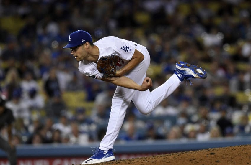 LOS ANGELES, CA - AUGUST 10: Relief pitcher Joe Kelly #17 of the Los Angeles Dodgers throws against Arizona Diamondbacks during the eight inning at Dodger Stadium on August 10, 2019 in Los Angeles, California. (Photo by Kevork Djansezian/Getty Images)