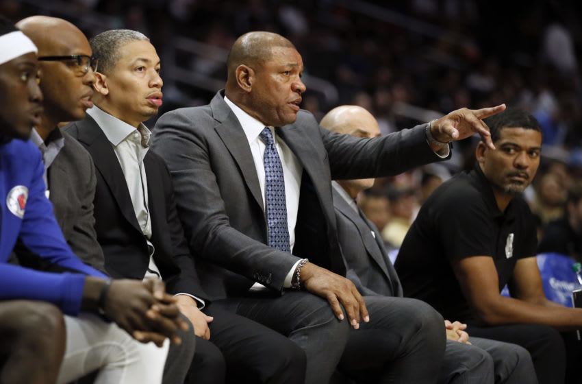 LOS ANGELES, CALIFORNIA - OCTOBER 13: Head Coach of the LA Clippers Doc Rivers reacts during the game against Melbourne United at Staples Center on October 13, 2019 in Los Angeles, California. NOTE TO USER: User expressly acknowledges and agrees that, by downloading and/or using this photograph, user is consenting to the terms and conditions of the Getty Images License Agreement. (Photo by Josh Lefkowitz/Getty Images)