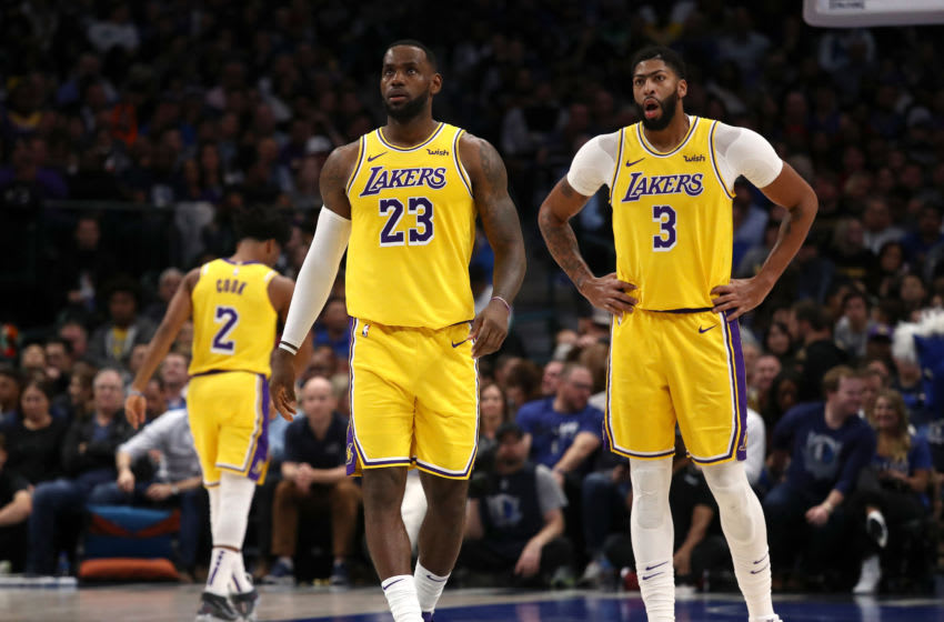 DALLAS, TEXAS - NOVEMBER 01: LeBron James #23 of the Los Angeles Lakers and Anthony Davis #3 at American Airlines Center on November 01, 2019 in Dallas, Texas. NOTE TO USER: User expressly acknowledges and agrees that, by downloading and or using this photograph, User is consenting to the terms and conditions of the Getty Images License Agreement. (Photo by Ronald Martinez/Getty Images)