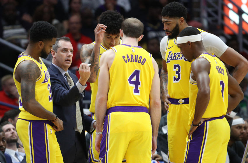 NEW ORLEANS, LOUISIANA - NOVEMBER 27: Head coach Frank Vogel of the Los Angeles Lakers talks with his team at Smoothie King Center on November 27, 2019 in New Orleans, Louisiana. NOTE TO USER: User expressly acknowledges and agrees that, by downloading and/or using this photograph, user is consenting to the terms and conditions of the Getty Images License Agreement (Photo by Chris Graythen/Getty Images)
