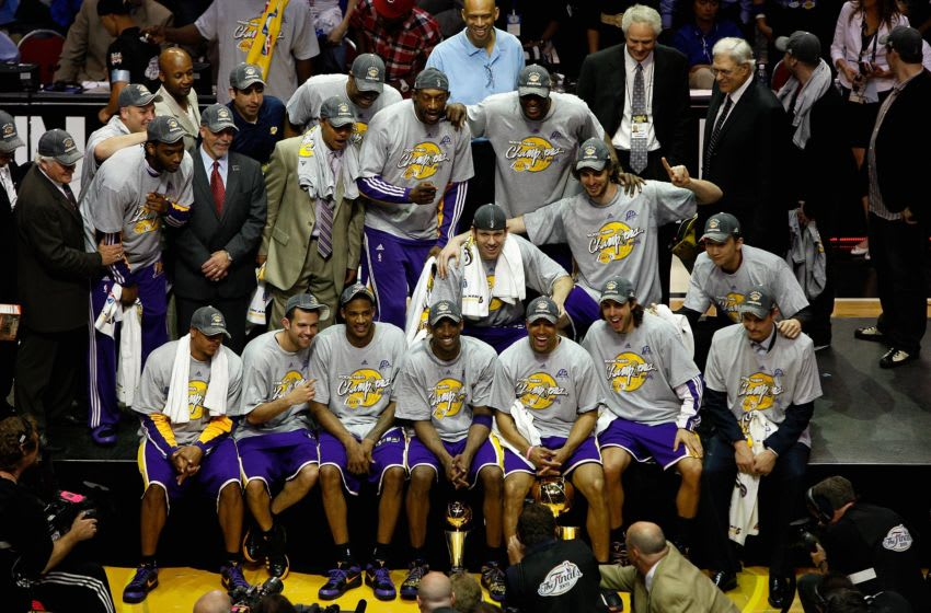 ORLANDO, FL - JUNE 14: The Los Angeles Lakers celebrate after defeating the Orlando Magic in Game Five of the 2009 NBA Finals on June 14, 2009 at Amway Arena in Orlando, Florida. The Lakers won 99-86. NOTE TO USER: User expressly acknowledges and agrees that, by downloading and or using this photograph, User is consenting to the terms and conditions of the Getty Images License Agreement. (Photo by Chris Graythen/Getty Images)