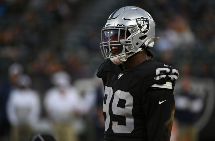OAKLAND, CALIFORNIA - AUGUST 10: Arden Key #99 of the Oakland Raiders during their NFL preseason game at RingCentral Coliseum on August 10, 2019 in Oakland, California. (Photo by Robert Reiners/Getty Images)