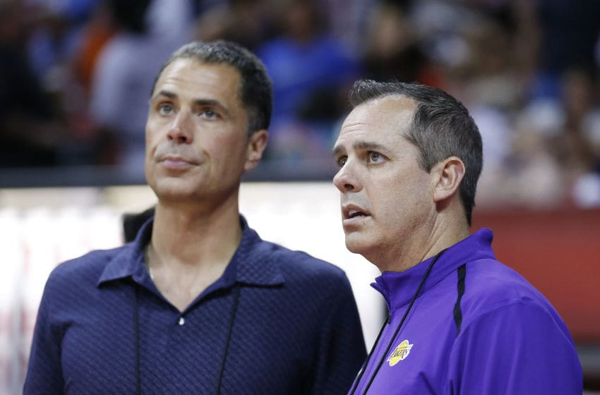LAS VEGAS, NEVADA - JULY 10: General manager Rob Pelinka of the Los Angeles Lakers (L) talks with head coach Frank Vogel of the Los Angeles Lakers (R) during the 2019 Summer League at the Thomas & Mack Center on July 10, 2019 in Las Vegas, Nevada. NOTE TO USER: User expressly acknowledges and agrees that, by downloading and or using this photograph, User is consenting to the terms and conditions of the Getty Images License Agreement. (Photo by Michael Reaves/Getty Images)