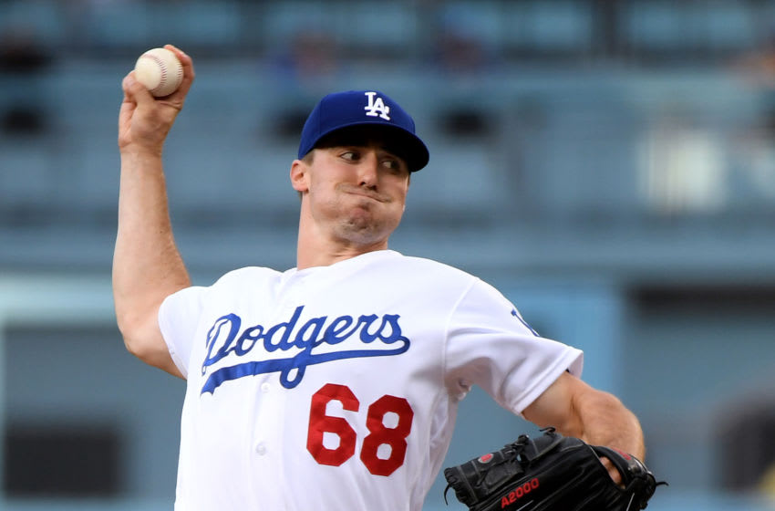 LOS ANGELES, CALIFORNIA - JULY 24: Ross Stripling #68 of the Los Angeles Dodgers pitches against the Los Angeles Angels during the first inning at Dodger Stadium on July 24, 2019 in Los Angeles, California. (Photo by Harry How/Getty Images)