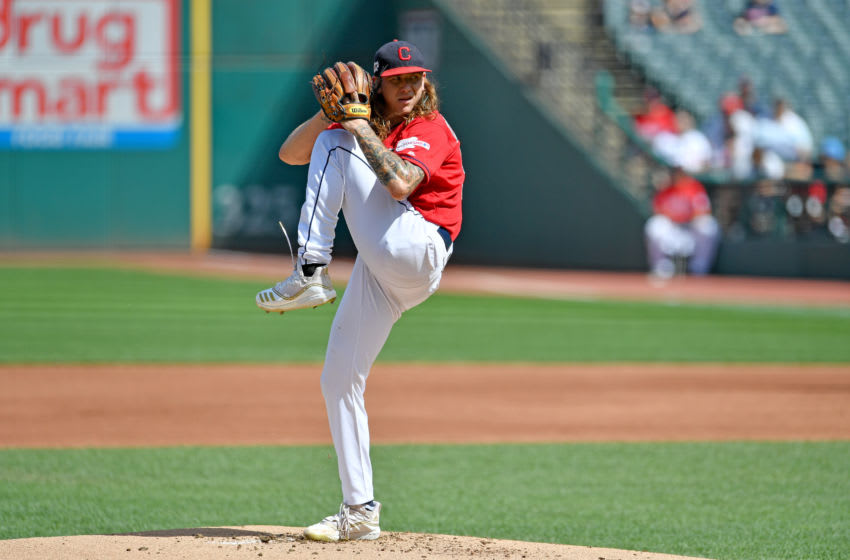 CLEVELAND, OHIO - SEPTEMBER 14: Starting pitcher Mike Clevinger #52 of the Cleveland Indians pitches during the first inning against the Minnesota Twins during the first game of a double header at Progressive Field on September 14, 2019 in Cleveland, Ohio. (Photo by Jason Miller/Getty Images)