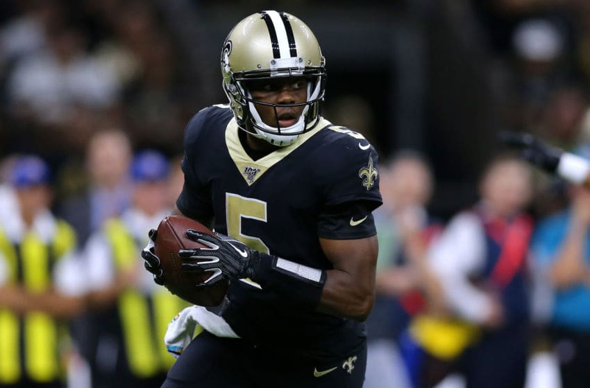NEW ORLEANS, LOUISIANA - OCTOBER 06: Teddy Bridgewater #5 of the New Orleans Saints throws the ball during a game against the Tampa Bay Buccaneers at the Mercedes Benz Superdome on October 06, 2019 in New Orleans, Louisiana. (Photo by Jonathan Bachman/Getty Images)