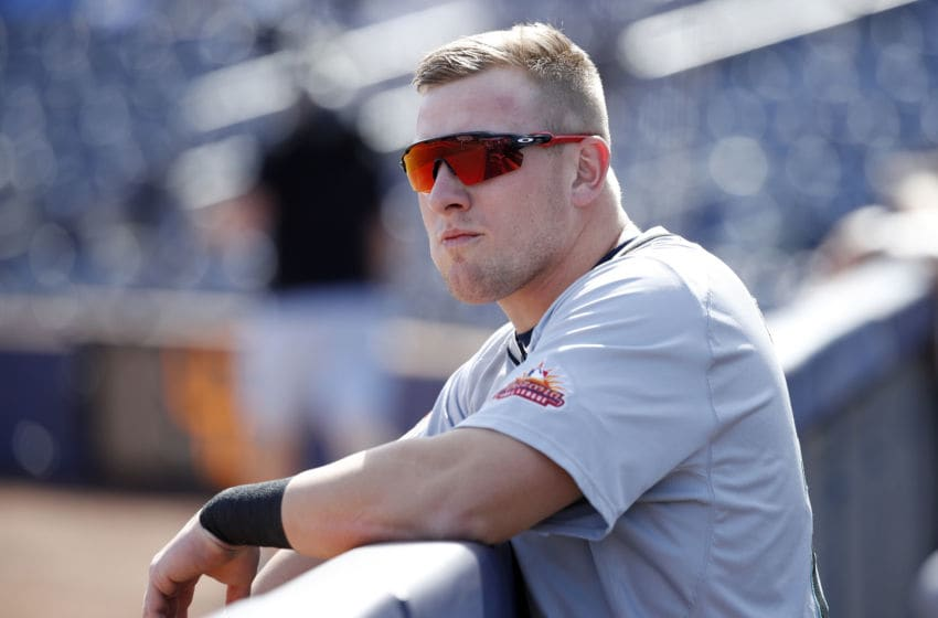 PEORIA, AZ - OCTOBER 16: Luke Raley #25 of the Salt River Rafters (Minnesota Twins) looks on against the Peoria Javelinas during an Arizona Fall League game at Peoria Sports Complex on October 16, 2019 in Peoria, Arizona. (Photo by Joe Robbins/Getty Images)