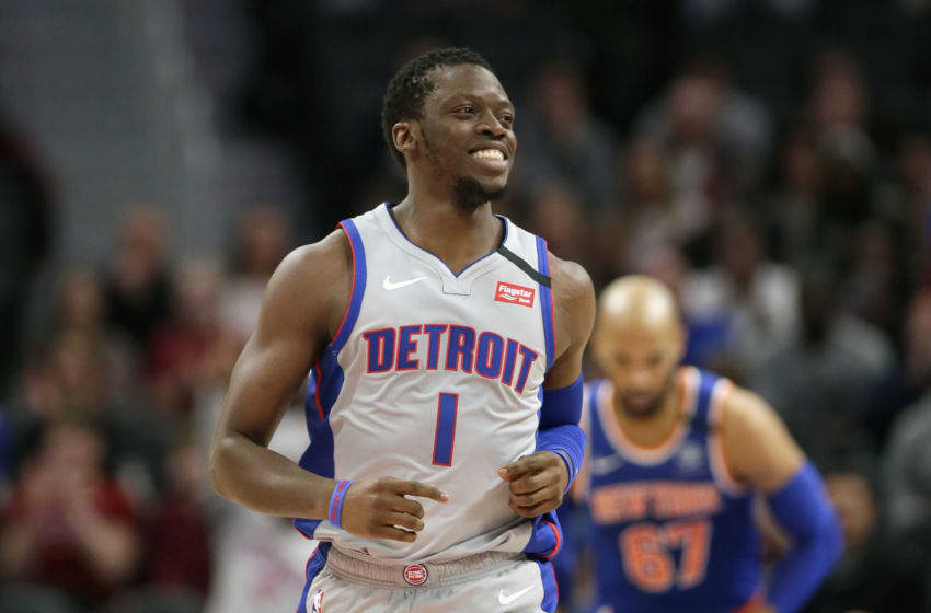 DETROIT, MI - FEBRUARY 8: Reggie Jackson #1 of the Detroit Pistons during the first half of a game against the New York Knicks at Little Caesars Arena on February 8, 2020, in Detroit, Michigan. NOTE TO USER: User expressly acknowledges and agrees that, by downloading and or using this photograph, User is consenting to the terms and conditions of the Getty Images License Agreement. (Photo by Duane Burleson/Getty Images)