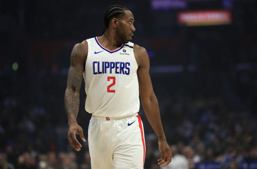 LOS ANGELES, CALIFORNIA - FEBRUARY 24: Kawhi Leonard #2 of the LA Clippers looks on during the first half of a game after the game after the game at Staples Center on February 24, 2020 in Los Angeles, California. NOTE TO USER: User expressly acknowledges and agrees that, by downloading and/or using this photograph, user is consenting to the terms and conditions of the Getty Images License Agreement. (Photo by Sean M. Haffey/Getty Images)