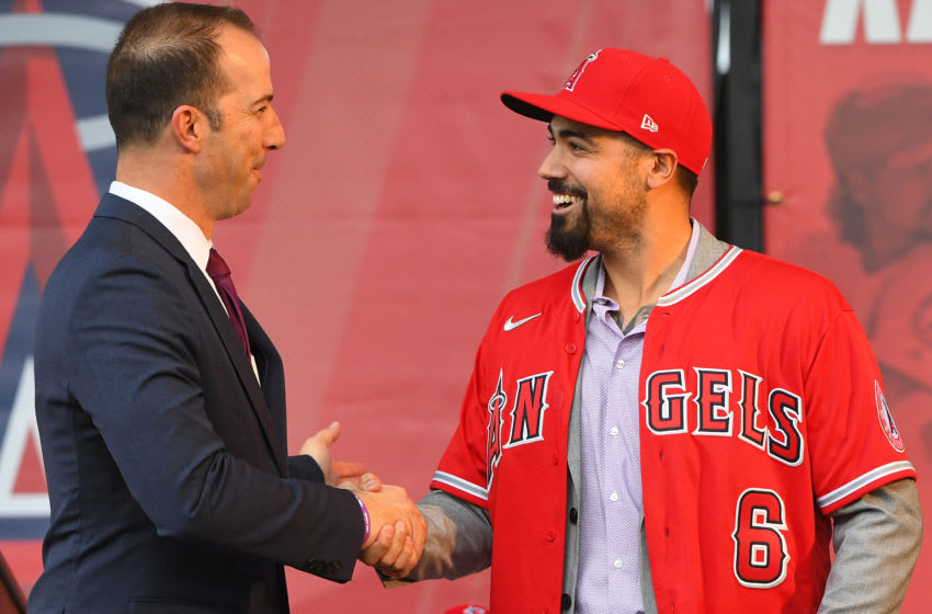 ANAHEIM, CA - DECEMBER 14: Los Angeles Angels general manager Billy Eppler shakes hands with Anthony Rendon #6 during a press conference at Angel Stadium of Anaheim on December 14, 2019 in Anaheim, California. (Photo by Jayne Kamin-Oncea/Getty Images)