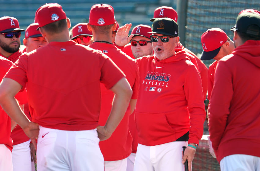 TEMPE, AZ - FEBRUARY 25: Manager Joe Maddon of the Los Angeles Angels looks on during a Spring Training game against the Cincinnati Reds on February 25, 2020 in Tempe, Arizona. (Photo by Masterpress/Getty Images)