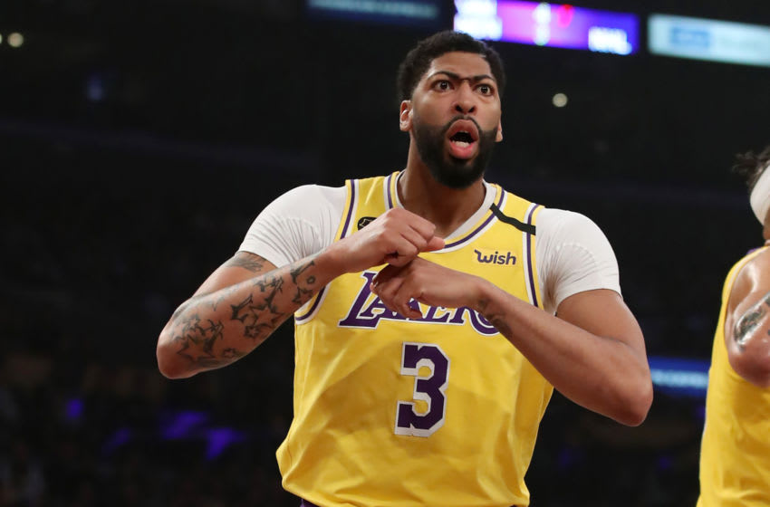 LOS ANGELES, CALIFORNIA - FEBRUARY 25: Anthony Davis #3 of the Los Angeles Lakers reacts to a play in a game against the New Orleans Pelicans during the first half at Staples Center on February 25, 2020 in Los Angeles, California. NOTE TO USER: User expressly acknowledges and agrees that, by downloading and or using this Photograph, user is consenting to the terms and conditions of the Getty Images License Agreement. (Photo by Katelyn Mulcahy/Getty Images)