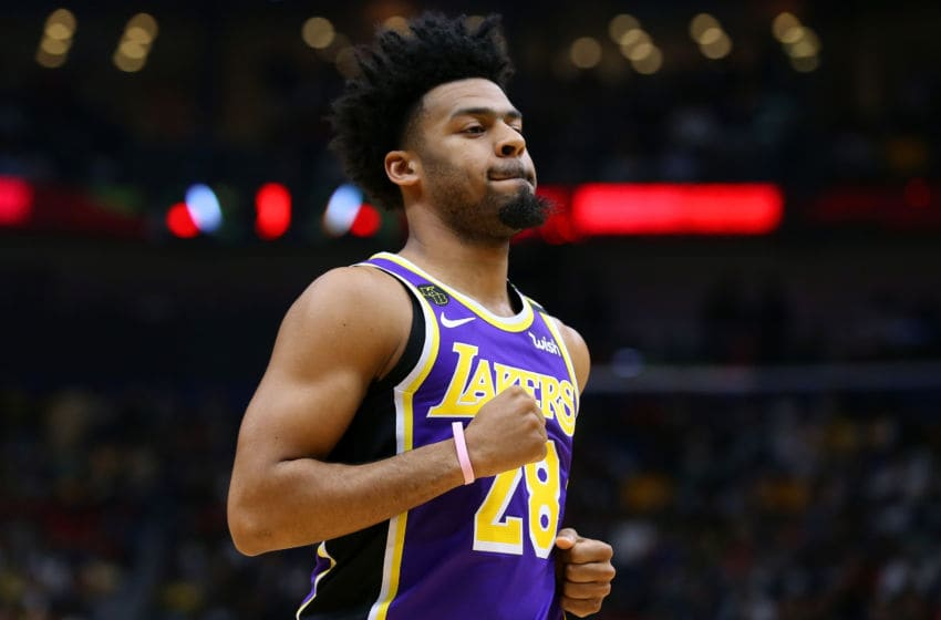 NEW ORLEANS, LOUISIANA - MARCH 01: Quinn Cook #28 of the Los Angeles Lakers reacts against the New Orleans Pelicans during the first half at the Smoothie King Center on March 01, 2020 in New Orleans, Louisiana. NOTE TO USER: User expressly acknowledges and agrees that, by downloading and or using this Photograph, user is consenting to the terms and conditions of the Getty Images License Agreement. (Photo by Jonathan Bachman/Getty Images)