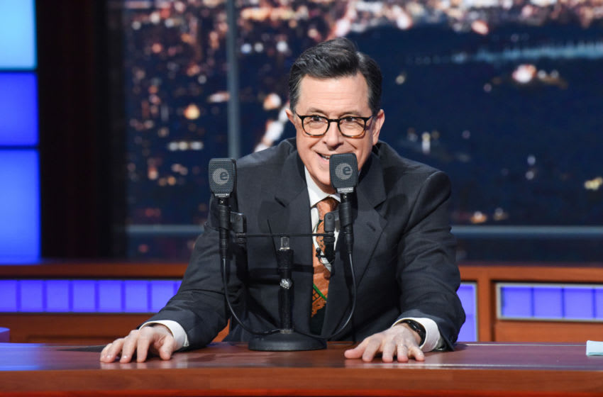 The Late Show with Stephen Colbert during Monday's April 1, 2019 show. Photo: Scott Kowalchyk/CBS ©2019 CBS Broadcasting Inc. All Rights Reserved.
