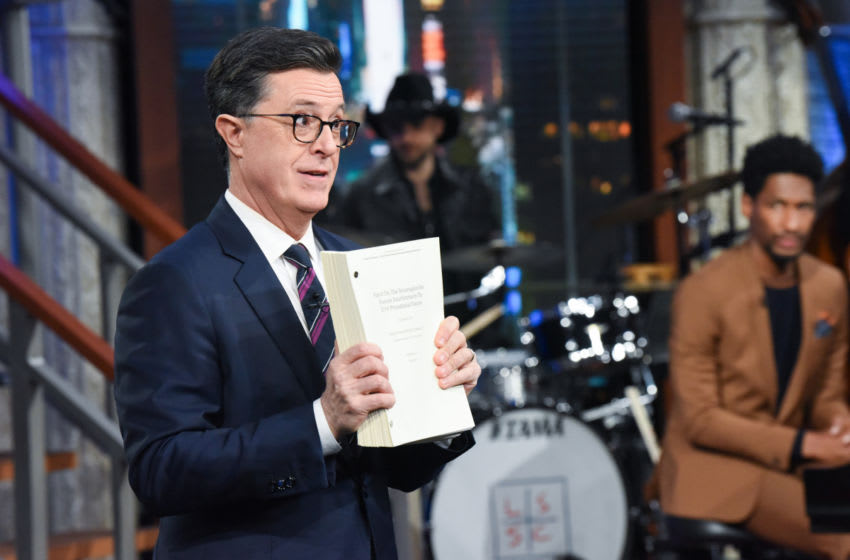 The Late Show with Stephen Colbert during Thursday's April 18, 2019 show. Photo: Scott Kowalchyk/CBS ©2019 CBS Broadcasting Inc. All Rights Reserved.