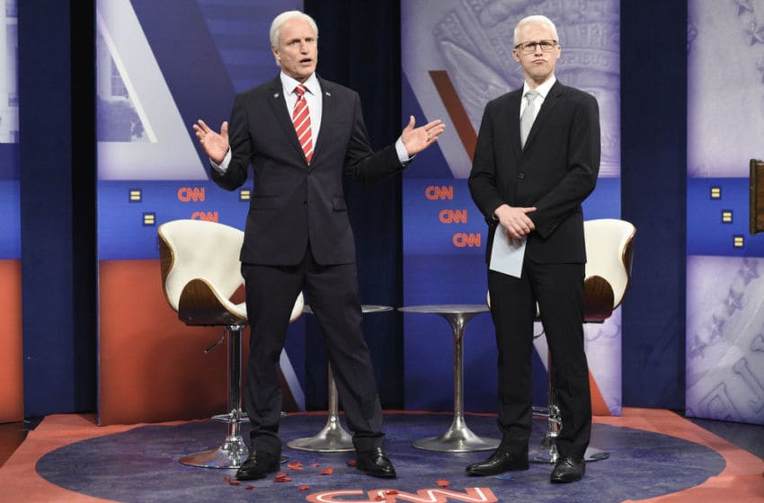 For Saturday Night Live, Woody Harrelson as Joe Biden and Alex Moffat as Anderson Cooper (Photo by: Will Heath/NBC)