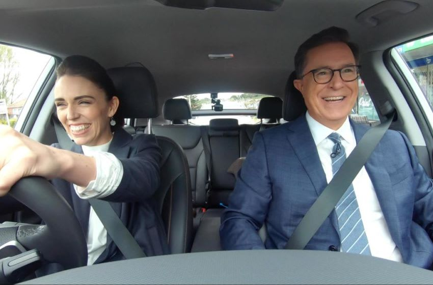 THE LATE SHOW with STEPHEN COLBERT will air a week of shows featuring footage from the host's unprecedented late night trip to New Zealand beginning Monday, Nov. 18 (11:35 PM-12:37 AM, ET/PT) on the CBS Television Network. Pictured (L-R): New Zealand Prime Minister Jacinda Ardern and Stephen Colbert. Photo: Best Possible Best Possible Screengrab/CBS © 2019 CBS Broadcasting, Inc. All Rights Reserved