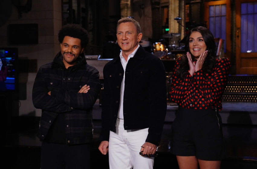 The Weeknd, Daniel Craig, and Cecily Strong on Saturday Night Live (Photo by: Rosalind O'Connor/NBC)