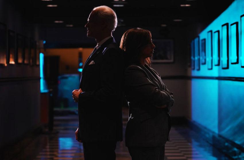 Jim Carrey as Joe Biden and Maya Rudolph as Kamala Harris for Saturday Night Live (Photo by: Rosalind O'Connor/NBC)