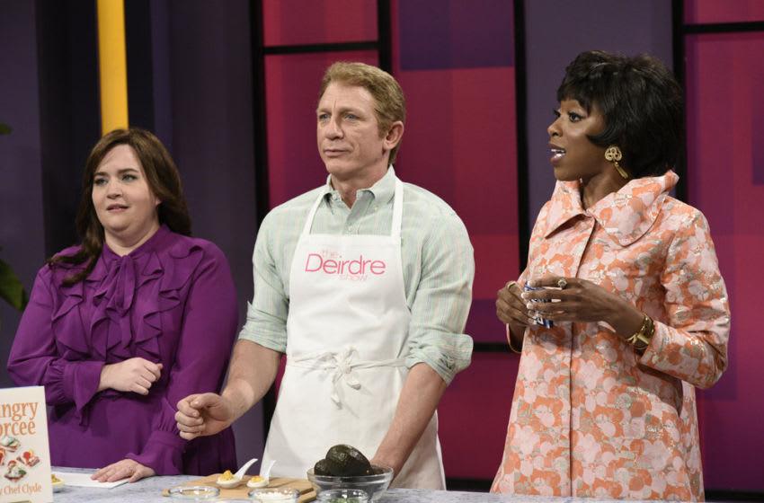 Aidy Bryant, Daniel Craig, and Ego Nwodim in Saturday Night Live (Photo by: Will Heath/NBC)